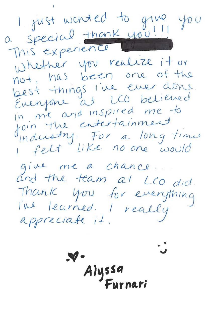 intern alumni alyssa writes lco aa wonderful thank you card advertisements