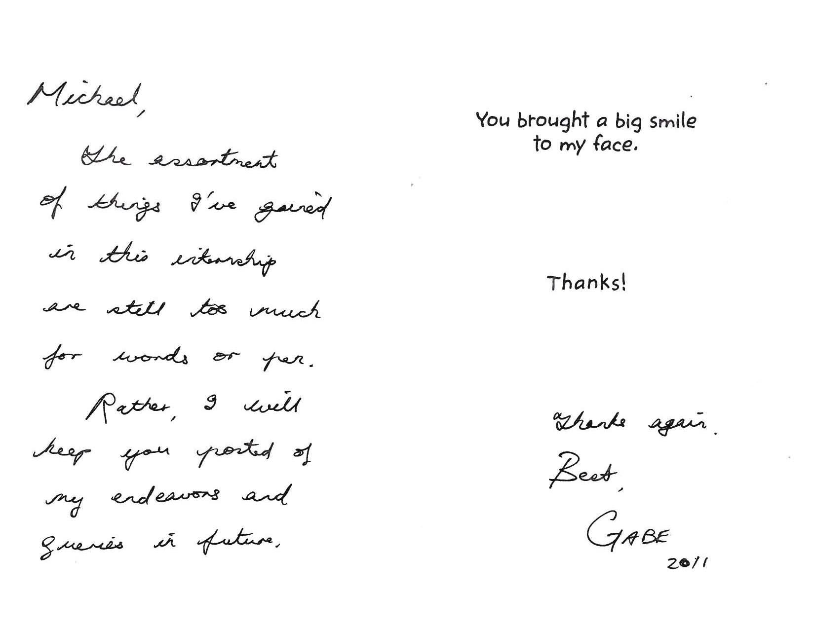 thank you note from our intern levine communications office advertisements