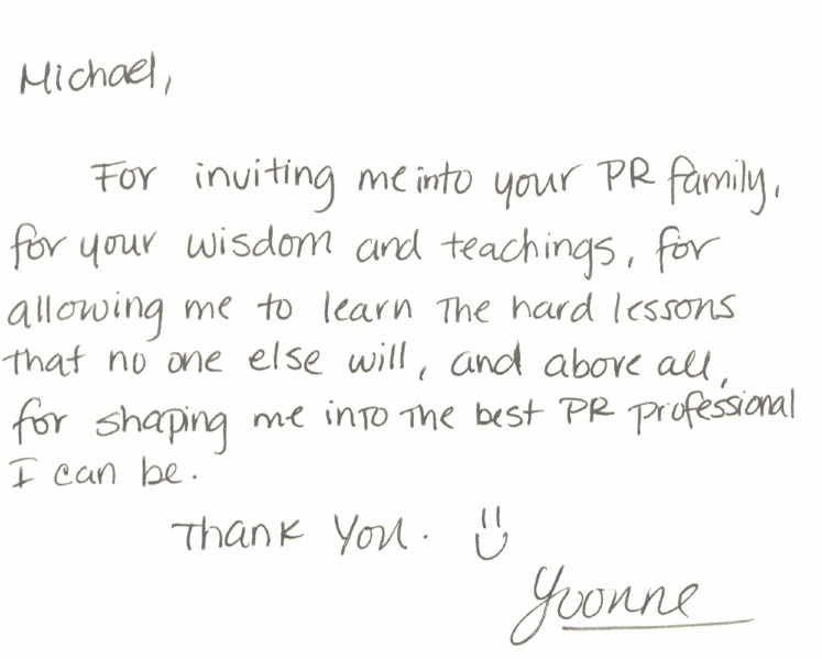 Thank You Note From One Of Our Interns! « Levine Communications Office